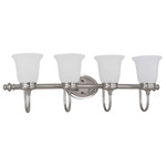 (4 Light) Vanity - Brushed Nickel / Frosted Linen Glass - Nuvo Lighting 60-2836 - Residential Light Fixture