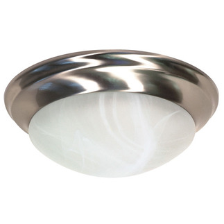(2 Light) Flush Mount Ceiling Fixture - Twist & Lock - Brushed Nickel / Alabaster Glass - Nuvo Lighting 60-284 - Residential Light Fixture