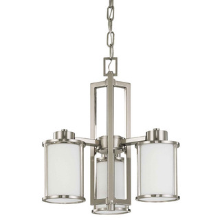 (3 Light) Chandelier - Convertible Up/Down - Brushed Nickel / Satin White Glass - Nuvo Lighting 60-2851