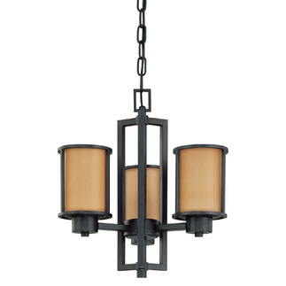 (3 Light) Chandelier - Convertible Up/Down - Aged Bronze / Parchment Glass - Nuvo Lighting 60-2852 - Residential Light Fixture