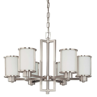 (6 Light) Chandelier - Convertible Up/Down - Brushed Nickel / Satin White Glass - Nuvo Lighting 60-2853