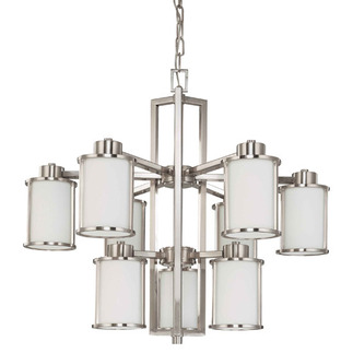 (6 + 3 Light) Chandelier - Brushed Nickel / Satin White Glass - Nuvo Lighting 60-2855