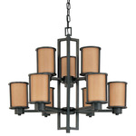 (6 + 3 Light) Chandelier - Aged Bronze / Parchment Glass - Nuvo Lighting 60-2856