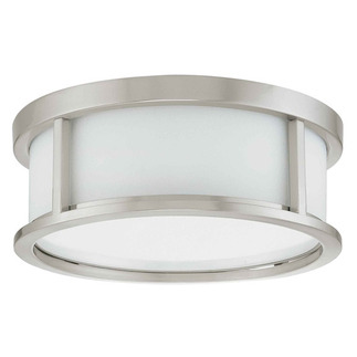 (2 Light) Flush Mount Ceiling Fixture - Brushed Nickel / Satin White Glass - Nuvo Lighting 60-2859