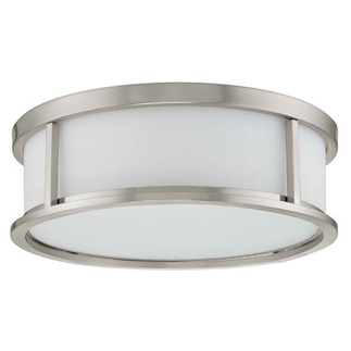 (3 Light) Flush Mount Ceiling Fixture - Brushed Nickel / Satin White Glass - Nuvo Lighting 60-2862