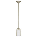 (1 Light) Mini Pendant - Brushed Nickel / Satin White Glass - Nuvo Lighting 60-2866