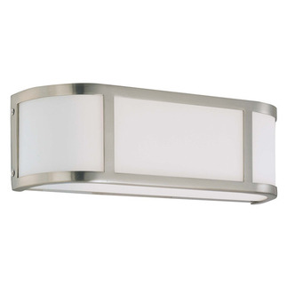 (2 Light) Wall Sconce - Brushed Nickel / Satin White Glass - Nuvo Lighting 60-2871 - Residential Light Fixture - Residential Home Lighting