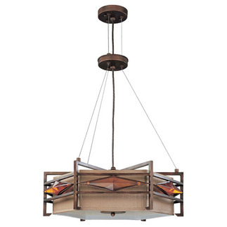 (3 Light) Pendant - Gramercy Bronze / Golden Bronze Fabric - Nuvo Lighting 60-2881