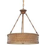 (3 Light) Pendant - Rustic Rattan / Beige Linen Weave - Nuvo Lighting 60-2882