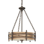 (3 Light) Pendant - Astor Bronze / Royal Gold Fabric - Nuvo Lighting 60-2883