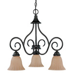 (3 Light) Chandelier - Arms Down - Copper Bronze / Champagne Linen Washed Glass - Nuvo Lighting 60-2888