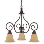 (3 CFL) Chandelier - Arms Down - Copper Bronze / Champagne Linen Washed Glass - Energy Star Qualified - Nuvo Lighting 60-2889