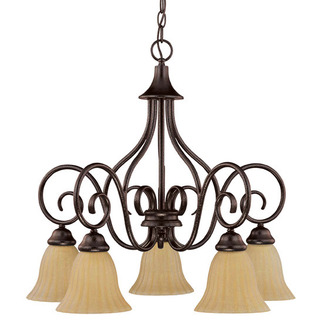 (5 CFL) Chandelier - Arms Down - Copper Bronze / Champagne Linen Washed Glass - Energy Star Qualified - Nuvo Lighting 60-2892