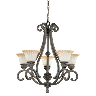 (5 Light) (Arms Up) Chandelier - Lisbon Bronze / Corvo Amber Wash Glass - Nuvo Lighting 60-2902