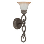 (1 Light) Vanity - Lisbon Bronze / Corvo Amber Wash Glass - Nuvo Lighting 60-2911