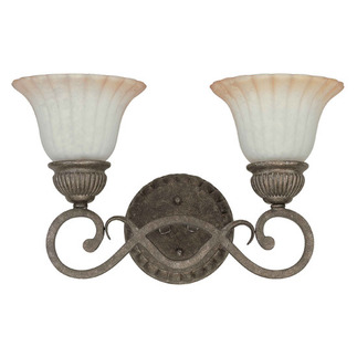(2 Light) Vanity - Lisbon Bronze / Corvo Amber Wash Glass - Nuvo Lighting 60-2912