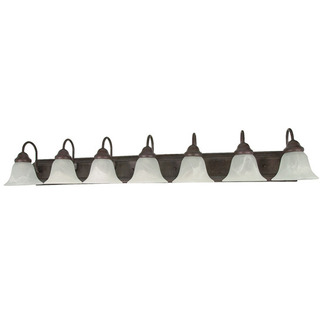 (7 Light) Vanity - Old Bronze / Alabaster Glass Bell - Nuvo Lighting 60-292 - Residential Light Fixture