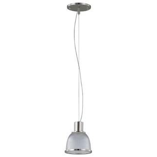 (1 Light) Pendant - Brushed Nickel / Clear Prismatic Glass - Nuvo Lighting 60-2921