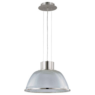 (1 Light) Pendant - Brushed Nickel / Clear Prismatic Glass - Nuvo Lighting 60-2925 - residential light fixture