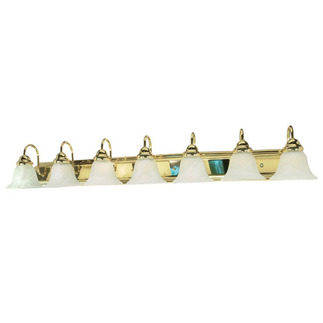 (7 Light) Vanity - Polished Brass / Alabaster Glass Bell - Nuvo Lighting 60-293