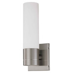(1 Light) Tube Wall Sconce - Brushed Nickel / White Glass - Nuvo Lighting 60-2934