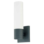(1 Light) Tube Wall Sconce - Textured Black / White Glass - Nuvo Lighting 60-2935