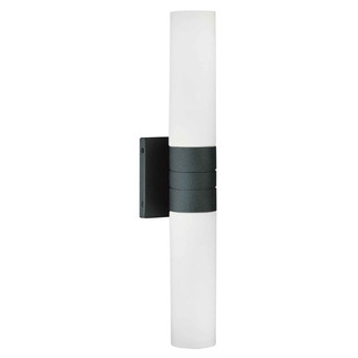 (2 Light) (Vertical) Tube Wall Sconce - Textured Black / White Glass - Nuvo Lighting 60-2937