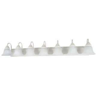 (7 Light) Vanity - Textured White / Alabaster Glass Bell - Nuvo Lighting 60-294