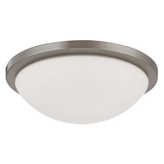 (2 CFL) Flush Mount Ceiling Fixture - Brushed Nickel / White Glass - Energy Star Qualified - Nuvo Lighting 60-2944