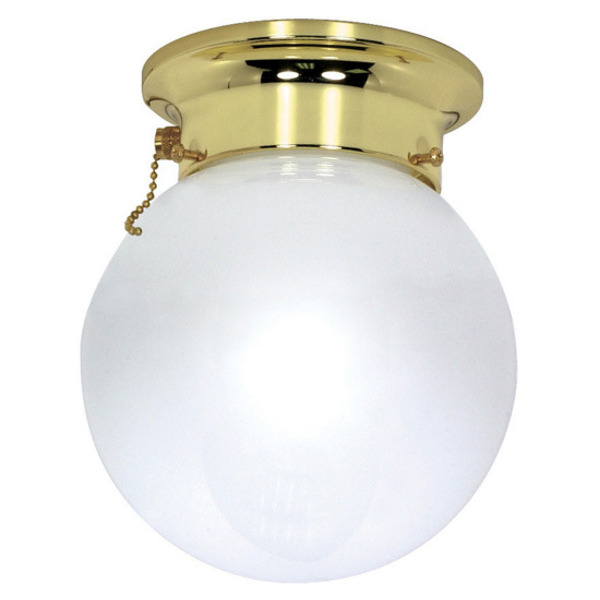 light ceiling mount ball fixture polished brass white glass pull. Black Bedroom Furniture Sets. Home Design Ideas