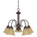 (5 CFL) Chandelier - Mohogany Bronze / Champagne Glass - Energy Star Qualified - Nuvo Lighting 60-3101
