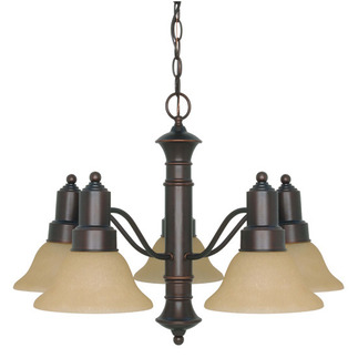 (5 CFL) Chandelier - Mohogany Bronze / Champagne Glass - Energy Star Qualified - Nuvo Lighting 60-3103 - Residential Light Fixture