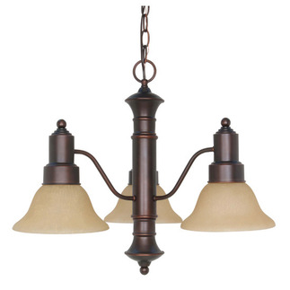 (3 CFL) Chandelier - Mohogany Bronze / Champagne Glass - Energy Star Qualified - Nuvo Lighting 60-3104
