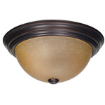 (3 CFL) Flush Mount Ceiling Fixture - Mohogany Bronze / Champagne Glass - Energy Star Qualified - Nuvo Lighting 60-3107 - residential