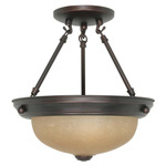 (2 CFL) Semi-Flush Ceiling Fixture - Mohogany Bronze / Champagne Glass - Energy Star Qualified - Nuvo Lighting 60-3108