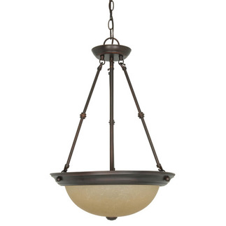 (3 CFL) Pendant - Mahogany Bronze / Champagne Glass - Energy Star Qualified - Nuvo Lighting 60-3112
