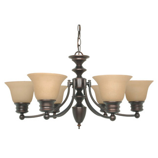 (6 CFL) Chandelier - Mohogany Bronze / Champagne Glass - Energy Star Qualified - Nuvo Lighting 60-3129