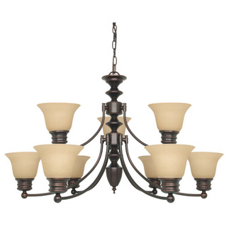 (9 CFL) Chandelier - Mohogany Bronze / Champagne Glass - Energy Star Qualified - Nuvo Lighting 60-3131
