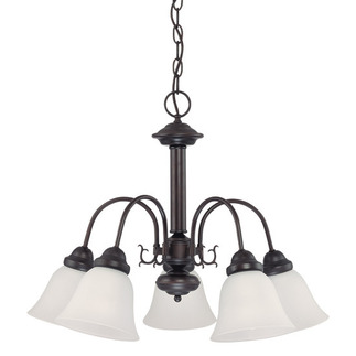 (5 Light) Chandelier - Mohogany Bronze / Frosted White Glass - Nuvo Lighting 60-3141