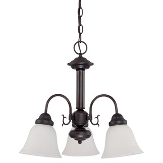 (3 Light) Chandelier - Mohogany Bronze / Frosted White Glass - Nuvo Lighting 60-3142 - Residential Light Fixture