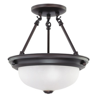 (2 Light) Semi-Flush Ceiling Fixture - Mohogany Bronze / Frosted White Glass - Nuvo Lighting 60-3148