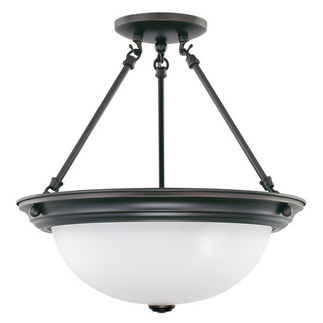(3 Light) Semi-Flush Ceiling Fixture - Mohogany Bronze / Frosted White Glass - Nuvo Lighting 60-3151