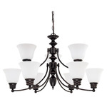 (9 Light) Chandelier - Mohogany Bronze / Frosted White Glass - Nuvo Lighting 60-3171 - Residential Light Fixture