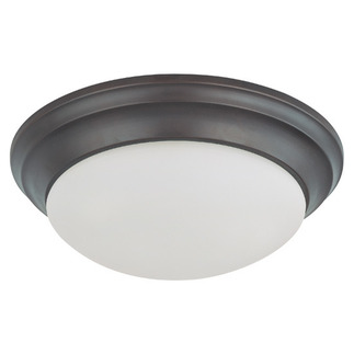 (2 Light) Flush Mount Ceiling Fixture - Twist & Lock - Mohogany Bronze / Frosted White Glass - Nuvo Lighting 60-3176