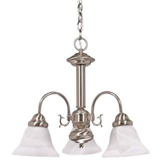 (3 CFL) Chandelier - Brushed Nickel / Alabaster Glass - Energy Star Qualified - Nuvo Lighting 60-3181