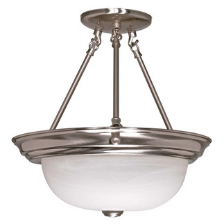 (2 CFL) Semi-Flush Ceiling Fixture - Brushed Nickel / Alabaster Glass - Energy Star Qualified - Nuvo Lighting 60-3185