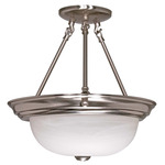 (3 CFL) Semi-Flush Ceiling Fixture - Brushed Nickel / Alabaster Glass - Energy Star Qualified - Nuvo Lighting 60-3186