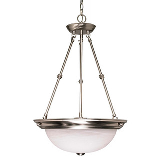 (3 CFL) Pendant - Brushed Nickel / Alabaster Glass - Energy Star Qualified - Nuvo Lighting 60-3187