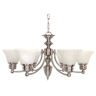 (6 CFL) Chandelier - Brushed Nickel / Alabaster Glass - Energy Star Qualified - Nuvo Lighting 60-3195