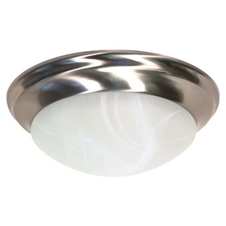 (2 CFL) Flush Mount Ceiling Fixture - Twist & Lock - Brushed Nickel / Alabaster Glass - Energy Star Qualified - Nuvo Lighting 60-3202